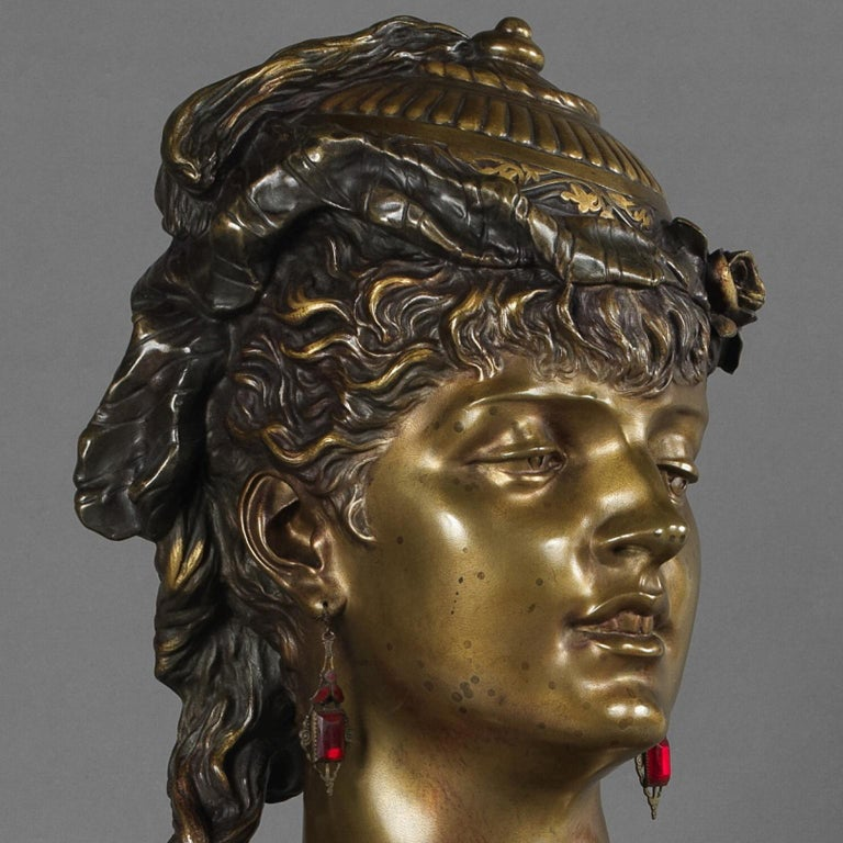 Patinated Multipatinated Bronze Orientalist Female Bust by Henri Honoré Plé, Dated 1883 For Sale