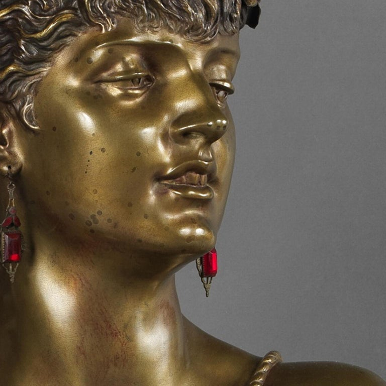 Multipatinated Bronze Orientalist Female Bust by Henri Honoré Plé, Dated 1883 In Good Condition For Sale In London, GB