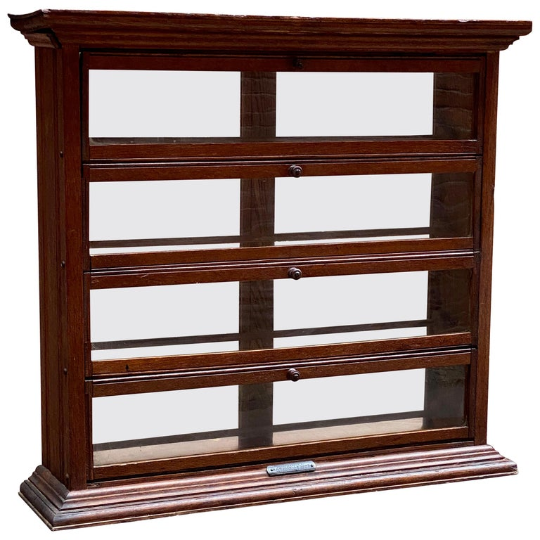 a. N. Russell and Sons Oak and Glass Display Cabinet For Sale