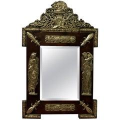 Napoleon III French Brass and Fruitwood Mirror