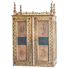 Napoleon III Orientalist Painted and Giltwood Apothecary Wall Cabinet