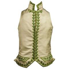 A Napoleonic period embroidered Silk Waistcoat - Académie Française Circa 1810