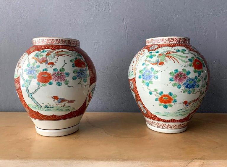 Near Pair of Antique Japanese Arita Export Ceramic Jars For Sale 5