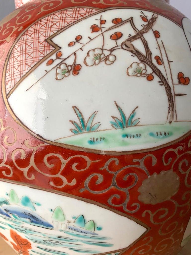 Near Pair of Antique Japanese Arita Export Ceramic Jars For Sale 4