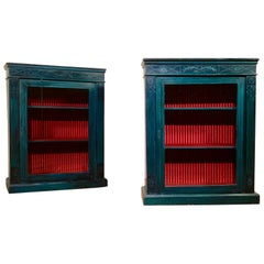 Near Pair of 20th Century Regency Style Green Painted Pier Cabinets Glazed Doors