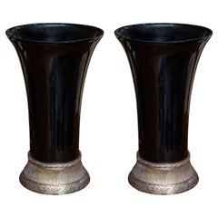 Near-Pair of Art Deco Style Black Vases on Stand