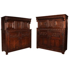 Near Pair of English Oak Press Cupboard from the 17th Century
