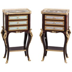 Near Pair of Transitional Style Salon or Bedside Tables, circa 1890