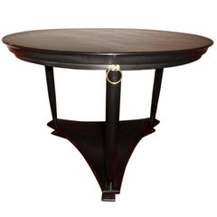 Neoclassical Black Lacquer Center Table with Brass Rings, Belgium, 1950