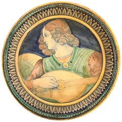 Neo-Renaissance Deruta Tondo, an Angel with a Lute