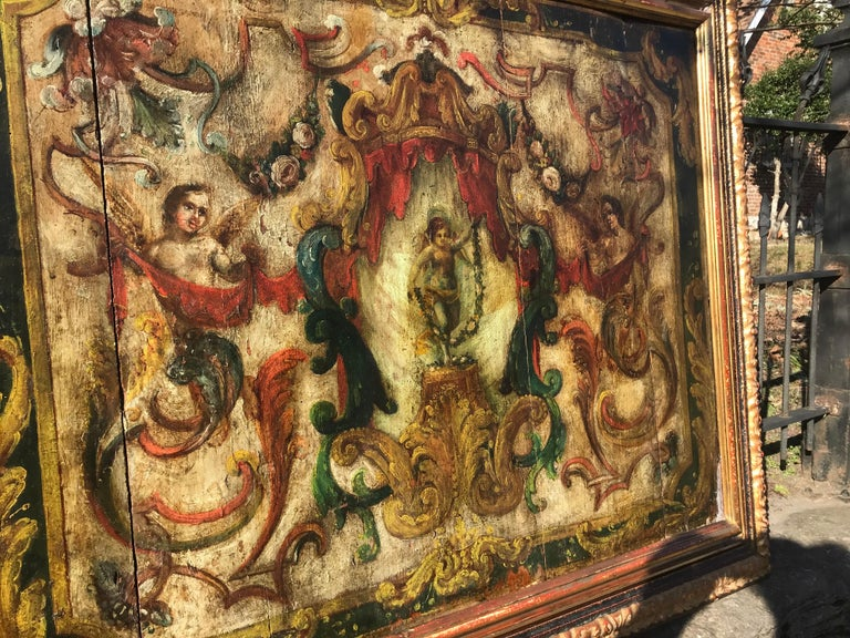 Neoclassical Boiserie Overdoor Painted Panel For Sale 4