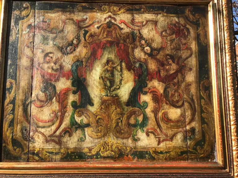 Neoclassical Boiserie Overdoor Painted Panel For Sale 5