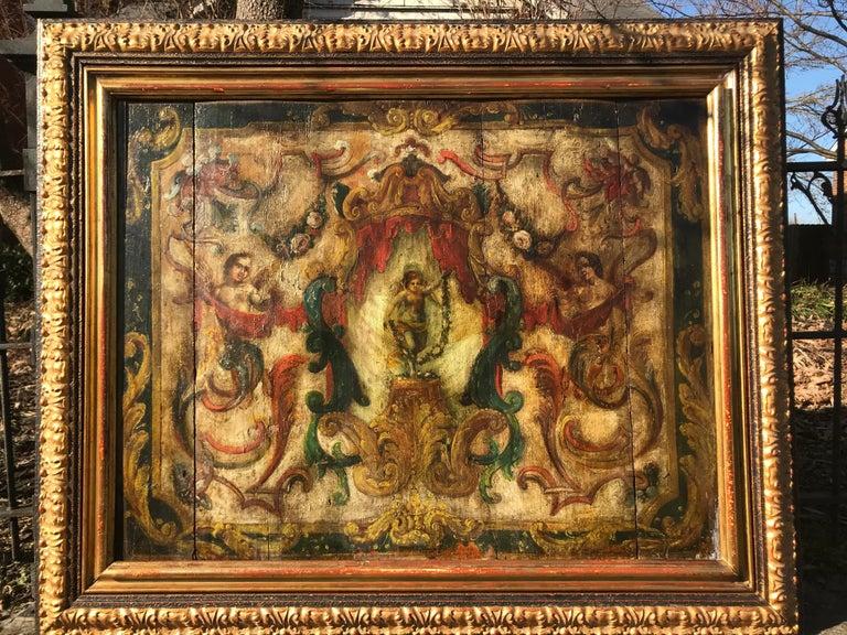 Italian Neoclassical Boiserie Overdoor Painted Panel For Sale