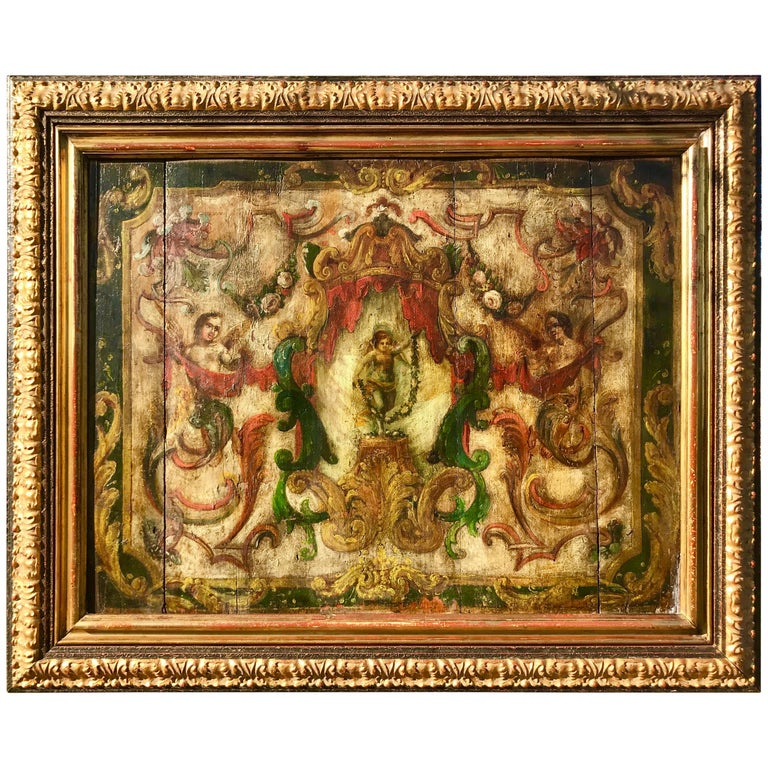 Neoclassical Boiserie Overdoor Painted Panel For Sale