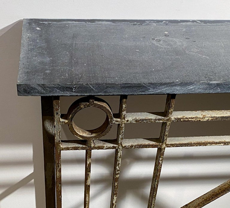 North American Neoclassical Style Painted  Wrought-Iron Console with Slate Top For Sale