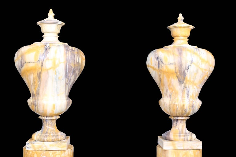 Neoclassical Revival Neoclassical Style Vintage Grand Pair of Marble Urns on Column Plinths For Sale