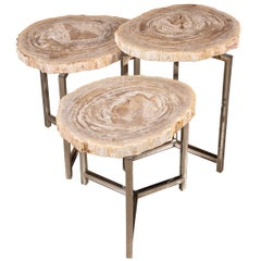 Nest of Three Petrified Wood 'Fossil' Tables on Chrome Bases