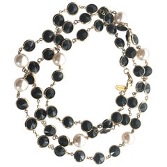 Like Chanel  but a new Necklace with black Swarovski stones and faux pearls