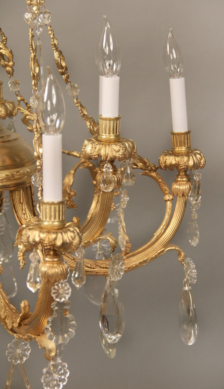 Belle Époque Nice Late 19th Century Gilt Bronze and Crystal Nine Light Chandelier For Sale