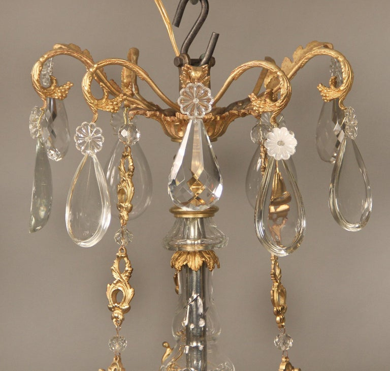 Nice Late 19th Century Gilt Bronze and Crystal Nine Light Chandelier In Good Condition For Sale In New York, NY