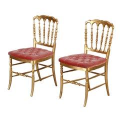 Nice Pair of 19th Century Gilt Wood Chiavari Chairs