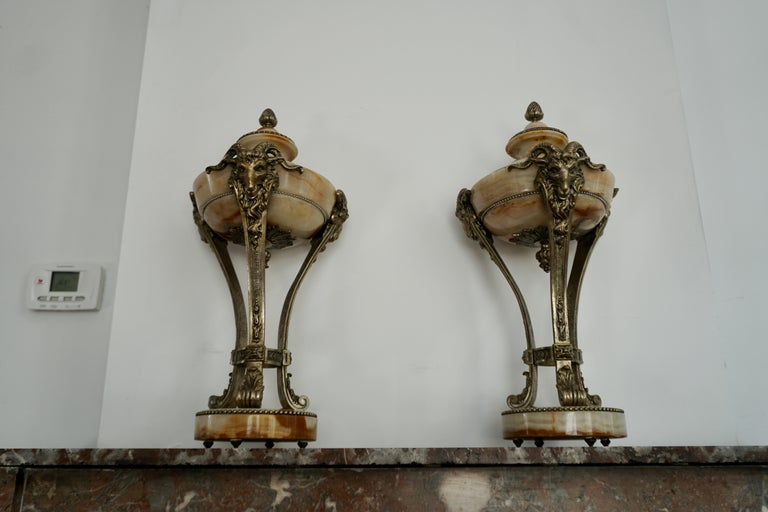 A Nice Pair of Onyx and Silvered Bronze Ornamental Vases For Sale 3