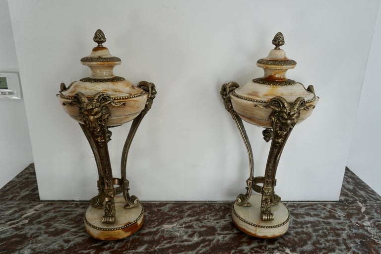 A Nice Pair of Onyx and Silvered Bronze Ornamental Vases For Sale 4