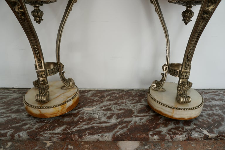 A Nice Pair of Onyx and Silvered Bronze Ornamental Vases For Sale 9