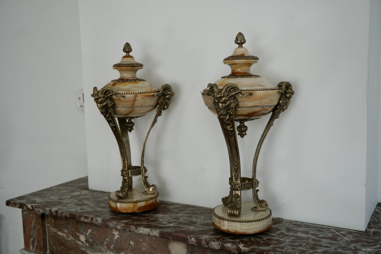 20th Century A Nice Pair of Onyx and Silvered Bronze Ornamental Vases For Sale