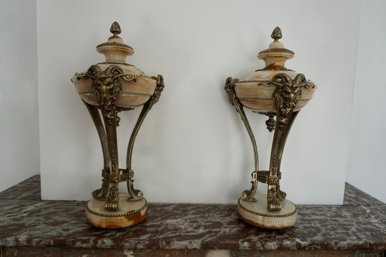 A Nice Pair of Onyx and Silvered Bronze Ornamental Vases For Sale 1