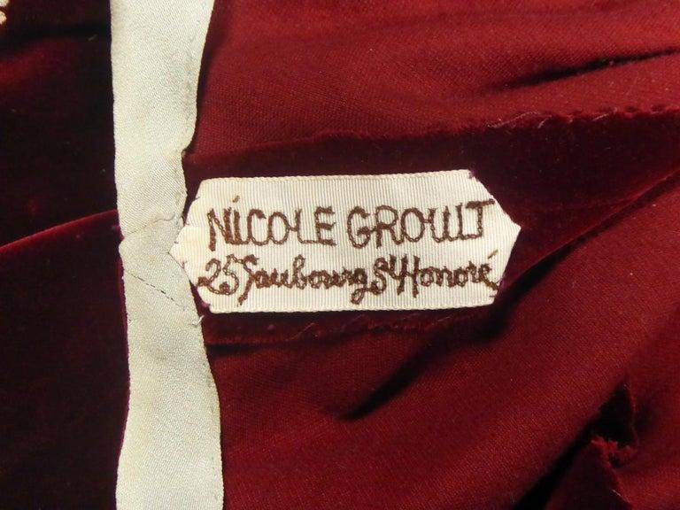 A Nicole Groult / Paul Poiret Evening Dress in Velvet and Rhinestones Circa 1935 For Sale 7