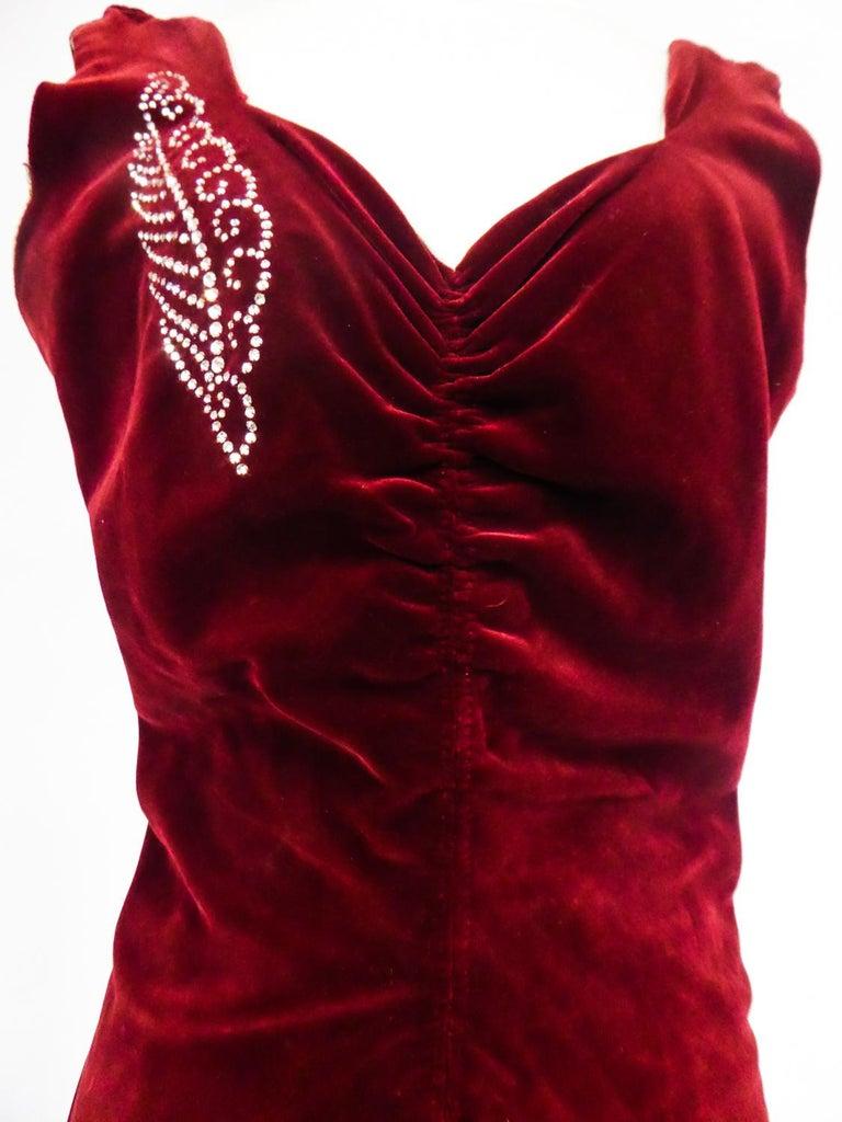 Black A Nicole Groult / Paul Poiret Evening Dress in Velvet and Rhinestones Circa 1935 For Sale