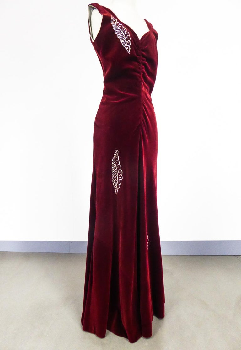 Women's A Nicole Groult / Paul Poiret Evening Dress in Velvet and Rhinestones Circa 1935 For Sale