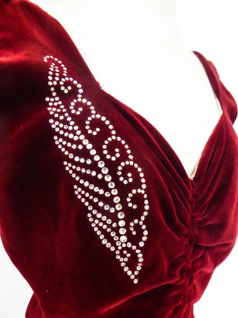 A Nicole Groult / Paul Poiret Evening Dress in Velvet and Rhinestones Circa 1935 For Sale 1