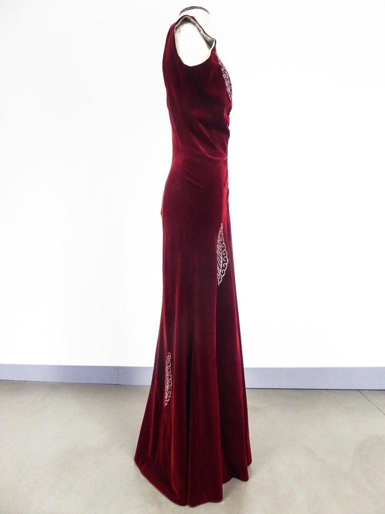 A Nicole Groult / Paul Poiret Evening Dress in Velvet and Rhinestones Circa 1935 For Sale 2