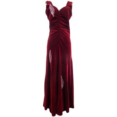 A Nicole Groult / Paul Poiret Evening Dress in Velvet and Rhinestones Circa 1935
