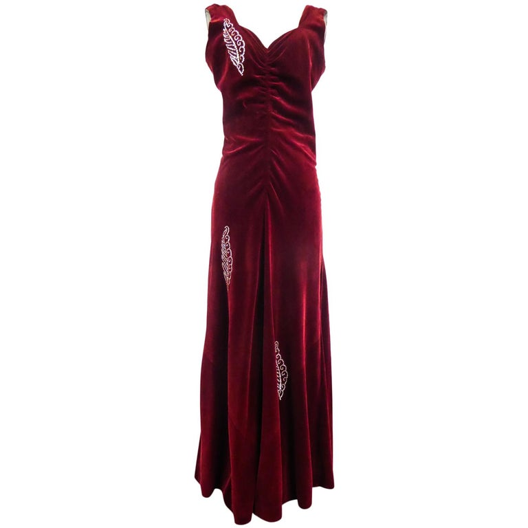 A Nicole Groult / Paul Poiret Evening Dress in Velvet and Rhinestones Circa 1935 For Sale
