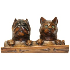 Novelty Cat and Dog Carved Black Forest Writing Stand, 1900