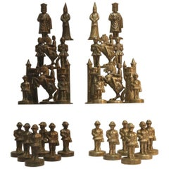 Novelty Heavy Cast Nickel and Bronze Chess Set Modeled on Medieval Figures