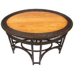 Oak and Rattan Oval Table