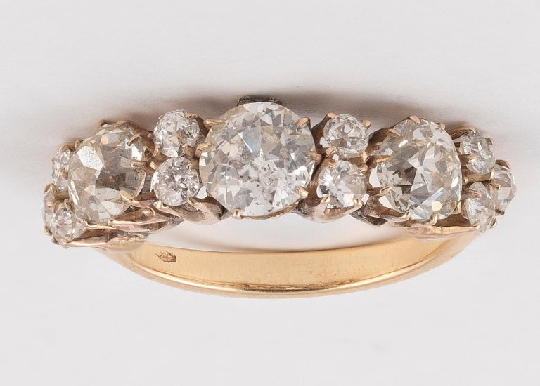 Victorian Old Cut Diamond Three-Stone Ring For Sale