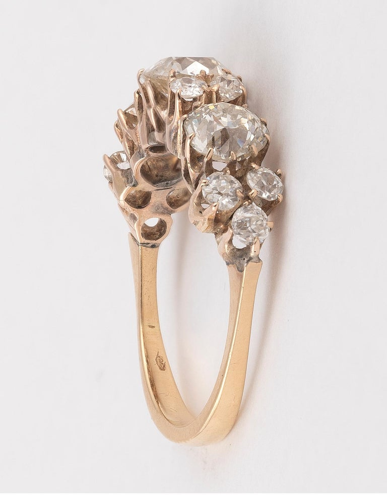 Old European Cut Old Cut Diamond Three-Stone Ring For Sale