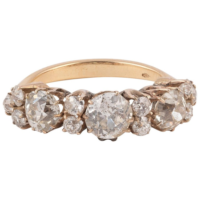 Old Cut Diamond Three-Stone Ring For Sale