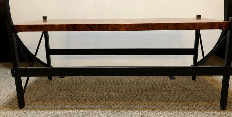 Pace Modern Coffee or Low Table Burl-Veneer Wood Top Metal Base In Good Condition For Sale In Stamford, CT