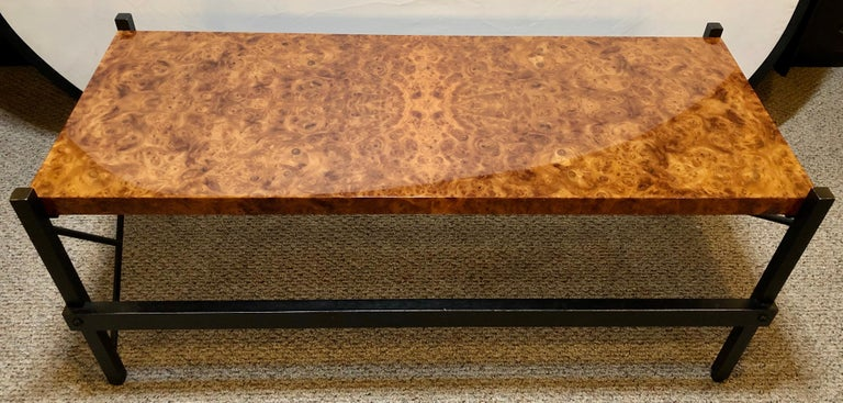 20th Century Pace Modern Coffee or Low Table Burl-Veneer Wood Top Metal Base For Sale