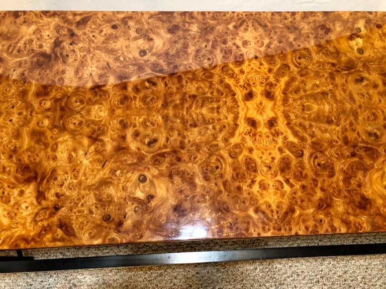Pace Modern Coffee or Low Table Burl-Veneer Wood Top Metal Base For Sale 2