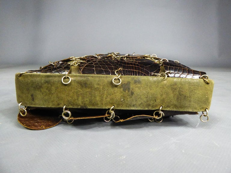 A Paco RabanneEvening Clutch in Khaki Leather and Pads Circa 1968 For Sale 6