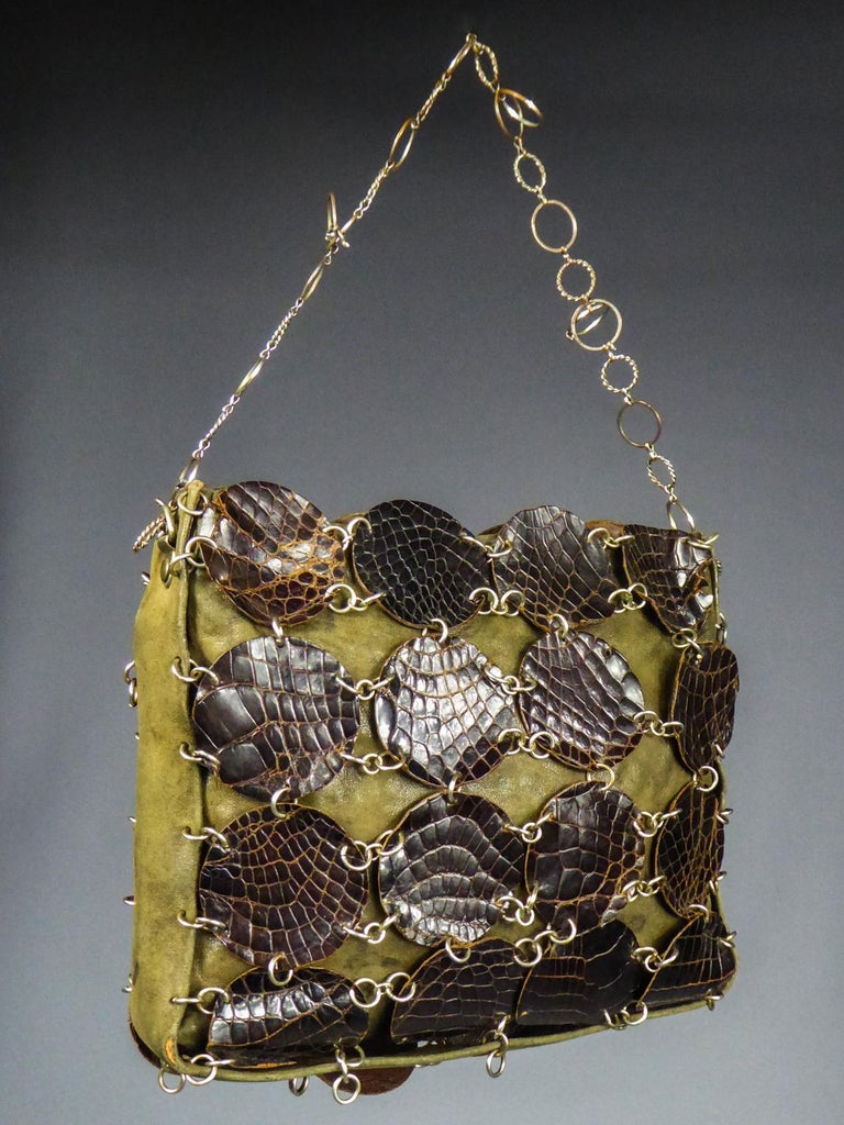 Women's A Paco RabanneEvening Clutch in Khaki Leather and Pads Circa 1968 For Sale