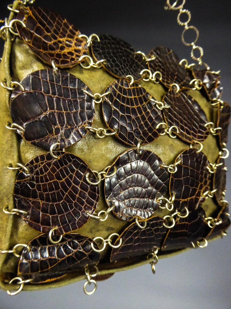 A Paco RabanneEvening Clutch in Khaki Leather and Pads Circa 1968 For Sale 1