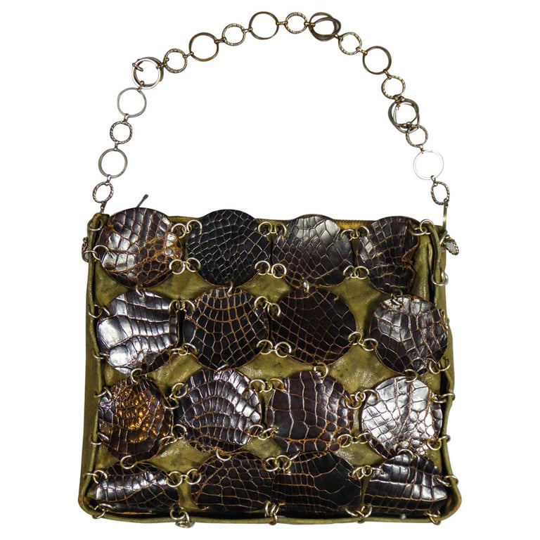 A Paco RabanneEvening Clutch in Khaki Leather and Pads Circa 1968 For Sale